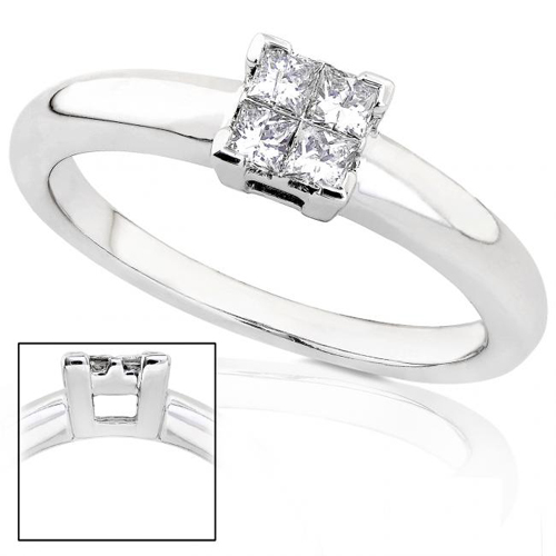 Princess Diamond Promise Ring in 14k White Gold 1/5ct TW