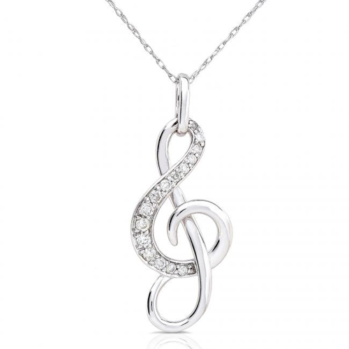 Diamond Musical Note Pendant in 14k White Gold 1/6ct TW