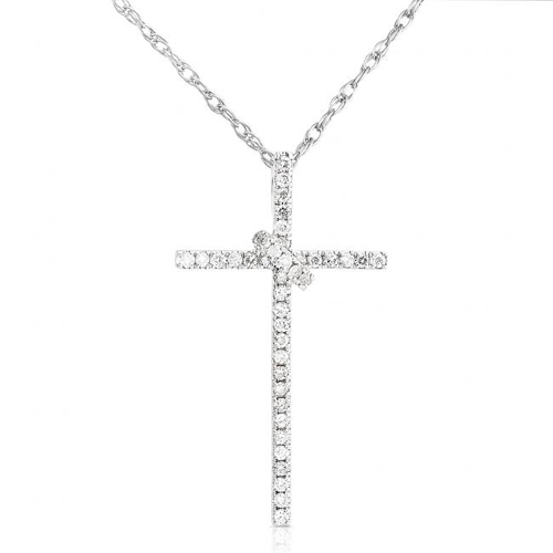 Diamond Cross Pendant in 14k White Gold 1/5ct TW