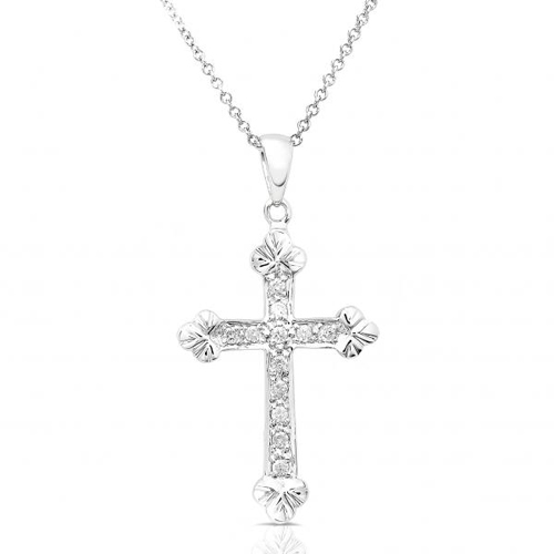 Diamond Cross Pendant in 14k White Gold 1/6ct TW