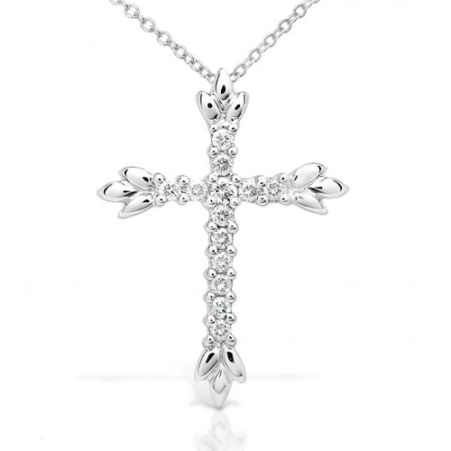 Diamond Cross Pendant in 14k White Gold 1/4ct TW