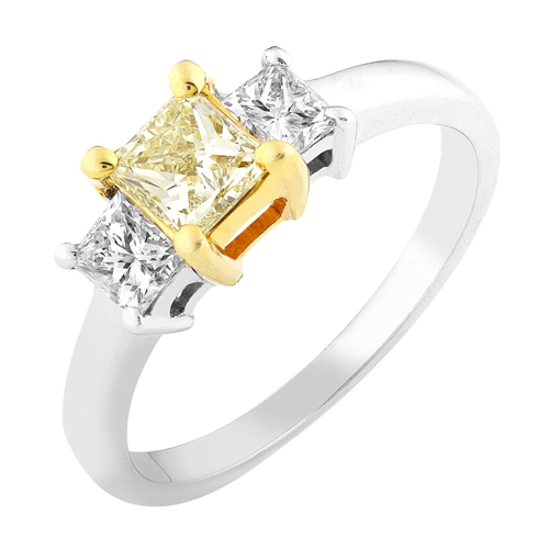 3 Stones Diamond Ring W/Fancy Yellow Center in 14k Gold