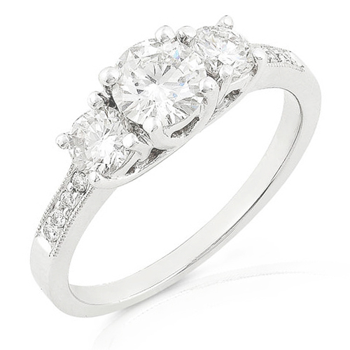 Three Stone Round Brilliant Diamond Ring 1.05ctw (HI/I1) in 14k