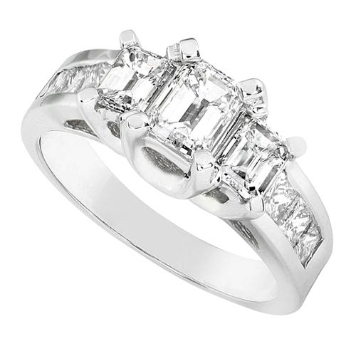 Certified Emerald Cut Diamond Engagement Ring in 14k 2ct TW