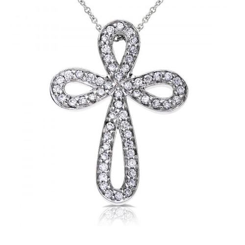 Diamond Cross Pendant in 14k White Gold 2/5ct TW