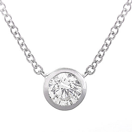 Round Bezel Set Diamond Solitaire Pendant in 14k 1/3ct
