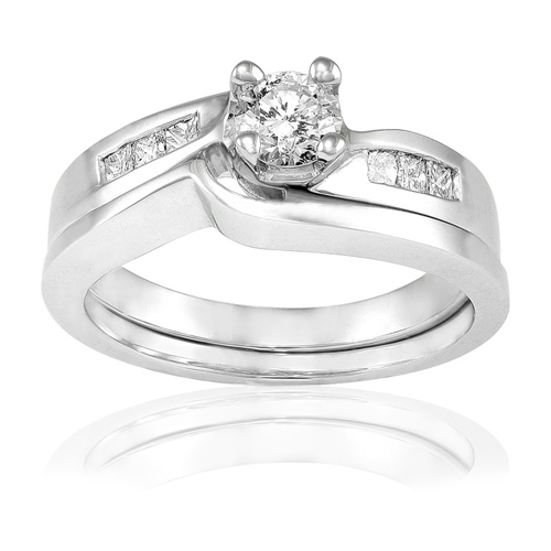 Round & Princess Diamond Wedding Set in 14k White Gold 1/2ct TW