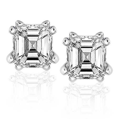 Diamond Asscher Stud Earrings in 14K White Gold 3/4ct TW