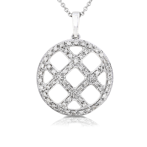 Diamond Criss Cross Designer Style Pendant set in 14K 1/3ct TW