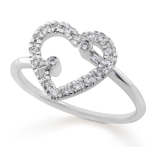 Diamond Heart Shaped Fashion Ring in 14k White Gold 1/5ct TW