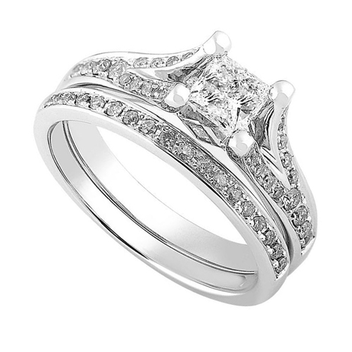 Princess Cut Diamond Wedding Set in 14kt White Gold 3/4ct TW