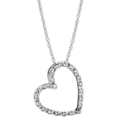Diamond Heart Pendant in 14k White Gold 1/10ct TW - Click Image to Close