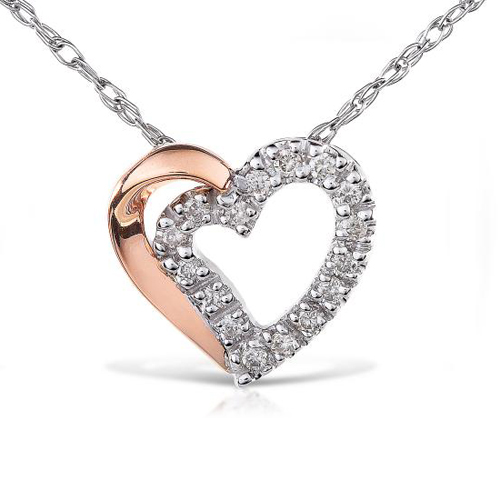 Diamond Heart Pendant in 14k Rose and White Gold 1/8ct TW