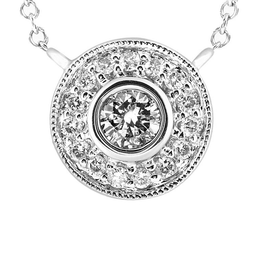 Round Diamond Pendant in 14k White Gold 1/3ct TW