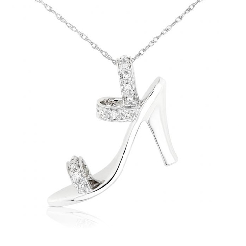 High Heel Diamond Pendant in 14k White Gold 1/20ct TW