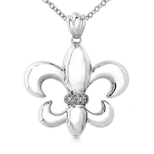 Fleur-de-lis Diamond Pendant in 14k White Gold