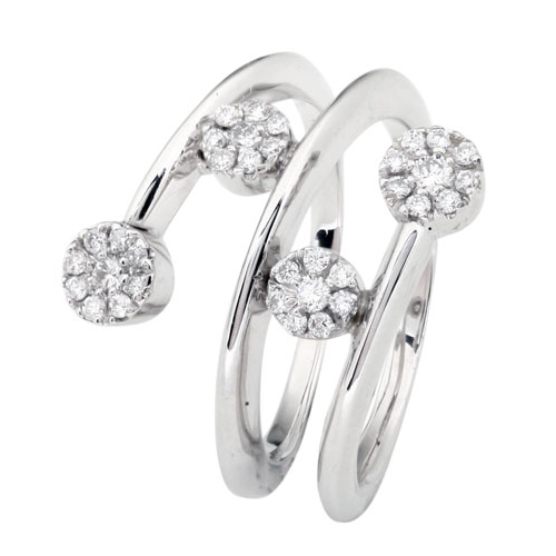 Cluster White Gold Ring