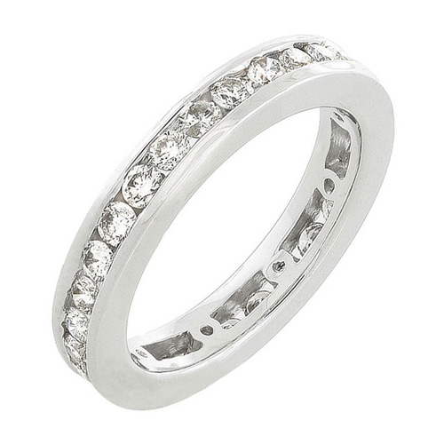 Diamond Eternity Band in 14k White Gold 1ct TW Channel Set