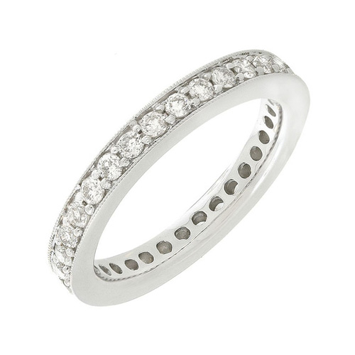 Diamond Pave Set Eternity Band in 14k White Gold 1ct TW