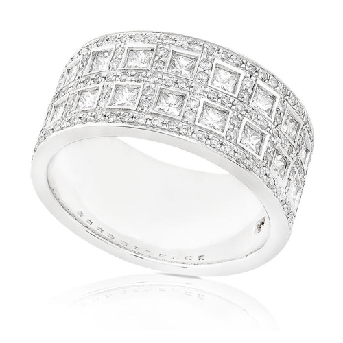 Princess and Round Diamond Band set in 18K White Gold 1 1/2ct TW