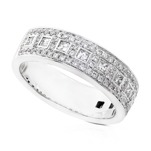 Princess and Round Cut Diamond Band in 14K White Gold 3/4ct TW