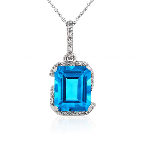 Diamond and Blue Topaz Pendant in 14k White Gold