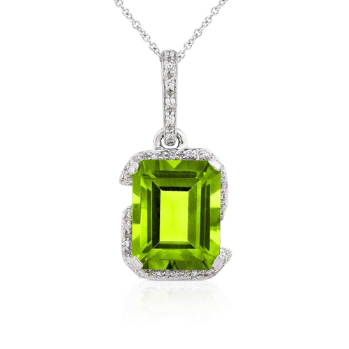 Diamond and Peridot Pendant in 14k White Gold
