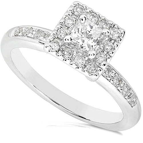 Princess Cut Diamond Engagement Ring in 14K