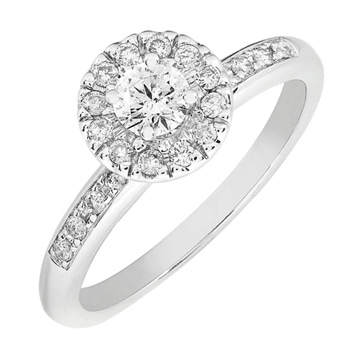 Round Brillant Diamond Engagement Ring in 14K White Gold 1/2ct