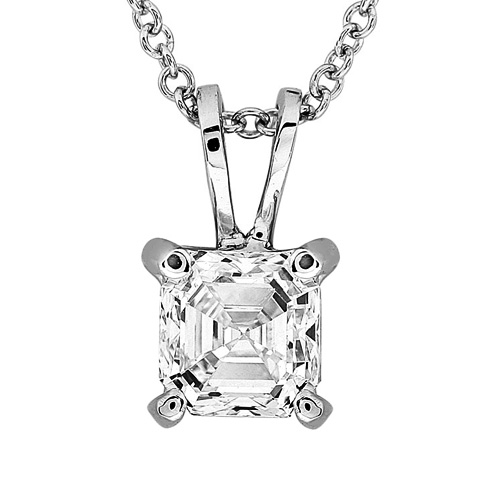Asscher Cut Diamond Solitaire Pendant 1/2ct in 14K White Gold