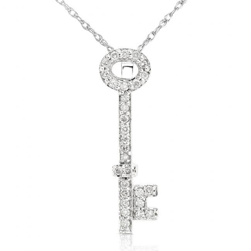Diamond Key Pendant in 14k White Gold 1/5ct TW - Click Image to Close