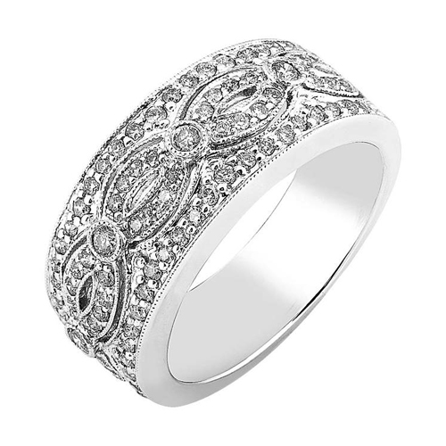Round Diamond Fashion Band in 14K White Gold 1/2ct TW - Click Image to Close