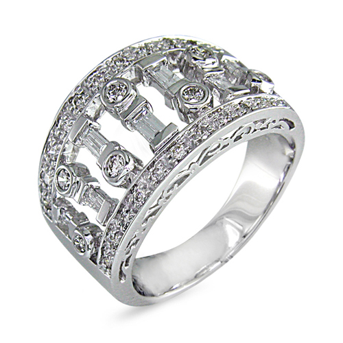 Baguette & Round Diamond Band in 14K White Gold 3/4ct TW