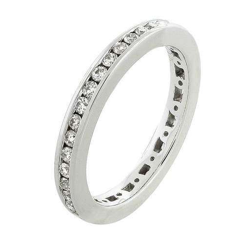 Diamond Channel Set Eternity Band in 14k White Gold 1/2ct TW