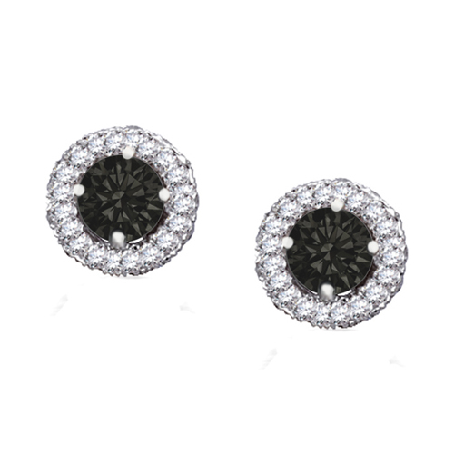 Black and White Diamond Studs in 14K White Gold