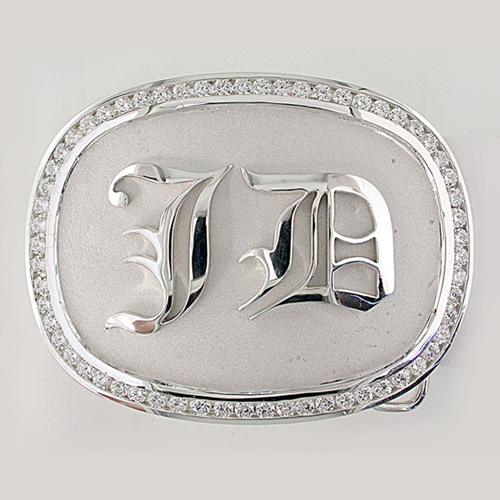"""JD"" Sterling Silver Belt Buckle"