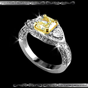 Lady's Fancy Yellow Ring in Platinum