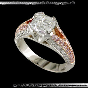 Women's Ring with Ascher cut Center in 18K White Gold