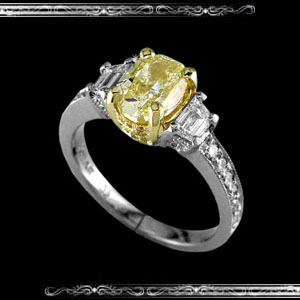 Natural Fancy Yellow Oval Ring