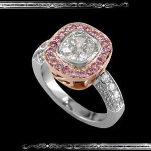 Ladies' Ring in 14K Rose and White Gold