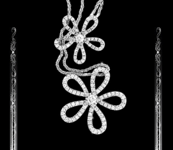 Women's Flowery Necklace in 14K White Gold