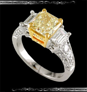 Natural Fancy Yellow Diamond Ring in 18K White Gold