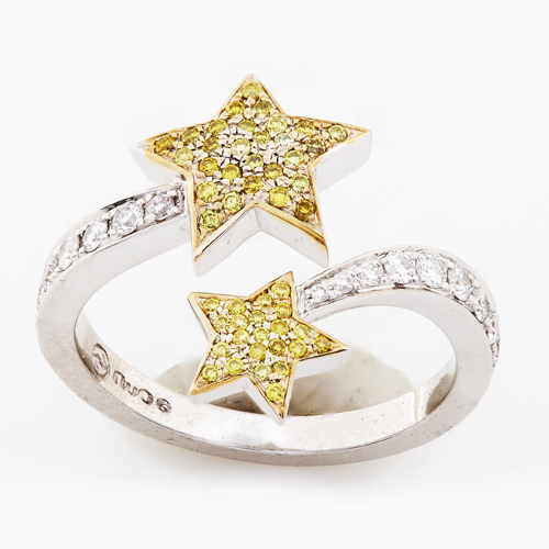 2 Star Diamond Lady's Ring in 14K White Gold 1/2ct TW