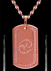 Ladies' Cancer Zodiac Sign Dog Tag in Rose Gold - Click Image to Close