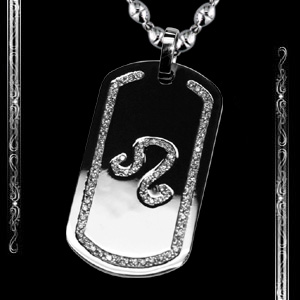 Men's Leo Zodiac Sign Dog Tag in 14K White Gold