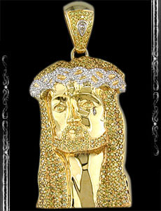 14K Yellow Gold Jesus Face Pendant