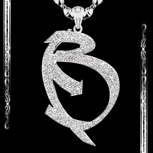 """B"" Pendant in Palladium"
