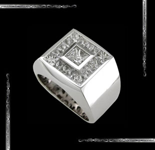 Square shape Men's Ring in 14K White Gold
