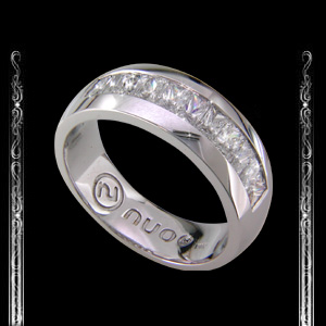 Large Men's Wedding Ring in 18K White Gold