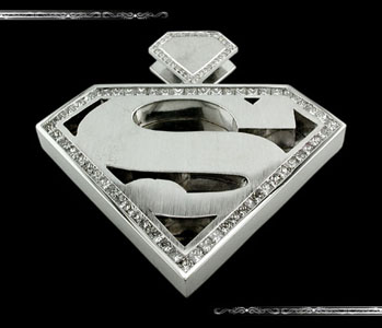 Superman Pendant in 14K White Gold